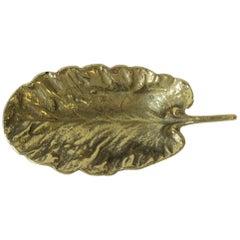 Midcentury Gold Brass Leaf Jewelry Dish