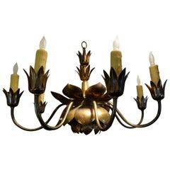 Midcentury Brass Lotus Chandelier by Feldman Lighting Co.