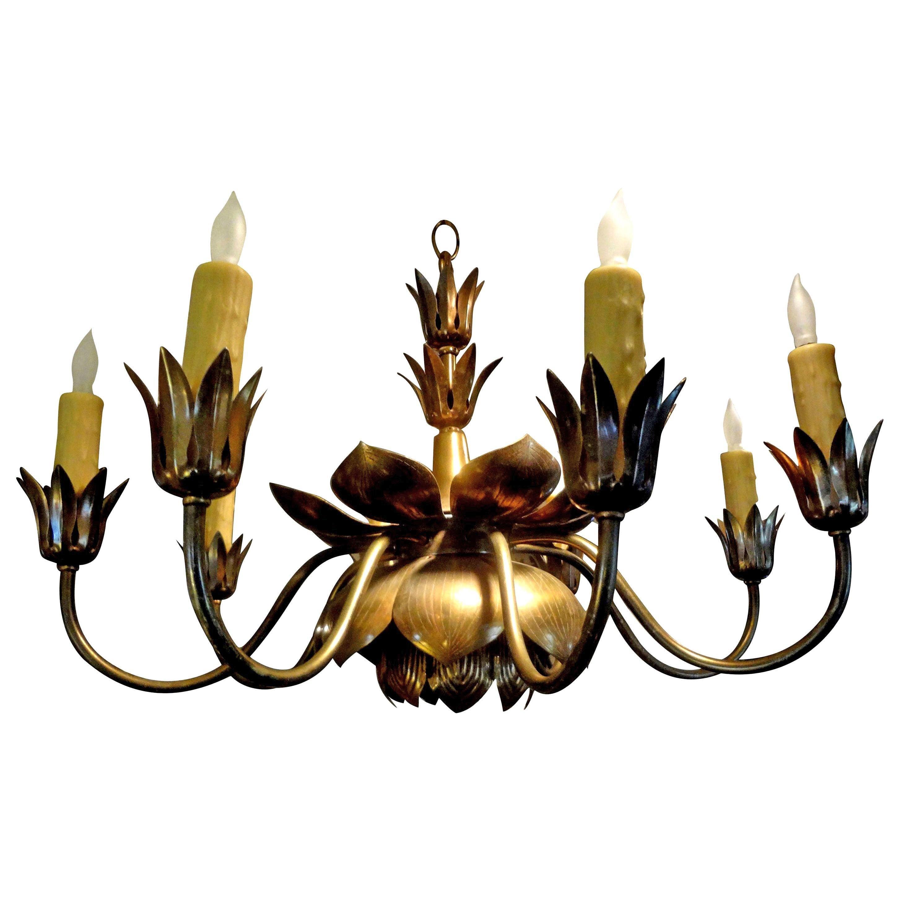 Midcentury Brass Lotus Chandelier by Feldman Lighting Co