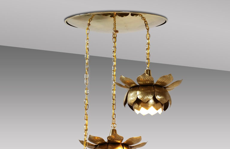 Mid-Century Modern Midcentury Brass Lotus Pendant Chandelier by Feldman Lighting Co. For Sale