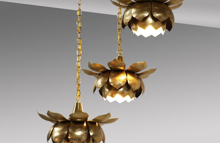 American Midcentury Brass Lotus Pendant Chandelier by Feldman Lighting Co. For Sale