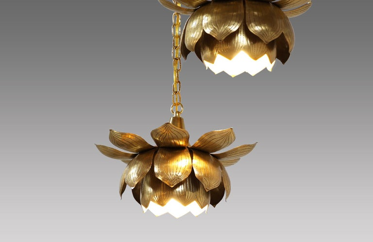 Midcentury Brass Lotus Pendant Chandelier by Feldman Lighting Co. In Excellent Condition For Sale In Los Angeles, CA