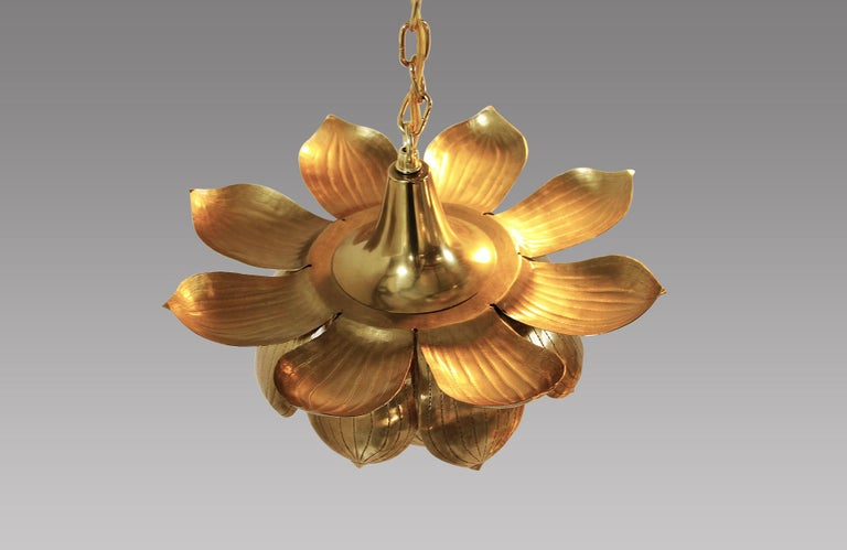 Mid-20th Century Midcentury Brass Lotus Pendant Chandelier by Feldman Lighting Co. For Sale