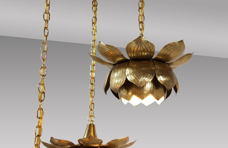 Midcentury Brass Lotus Pendant Chandelier by Feldman Lighting Co. For Sale 1