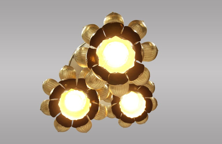Midcentury Brass Lotus Pendant Chandelier by Feldman Lighting Co. For Sale 2