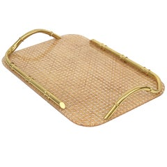 Midcentury Brass Lucite and Faux Bamboo Serving Tray Christian Dior Style, 1970s