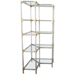 Midcentury Brass, Lucite and Glass Étagère with Five Shelves