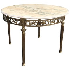 Midcentury Brass & Marble Round Coffee Table