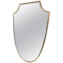 Midcentury Brass Mirror-Shield Shape, Italy