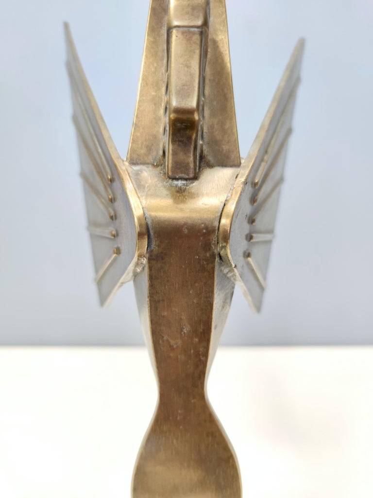 Midcentury Brass Nike Decorative Object with a Marble Pedestal For Sale 4