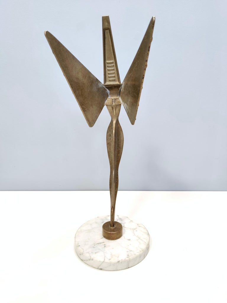 Italian Midcentury Brass Nike Decorative Object with a Marble Pedestal For Sale
