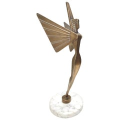 Midcentury Brass Nike Decorative Object with a Marble Pedestal