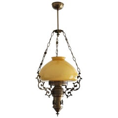 Midcentury Brass Opaline Glass Suspension Lantern with Tall Clear Glass Chimney