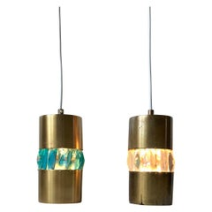 Midcentury Brass Pendant Lamps with Bohemian Crystal Prisms, 1960s