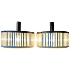 Midcentury Brass Pendant Lamps with Glass Tubes by Schmahl & Schulz Germany