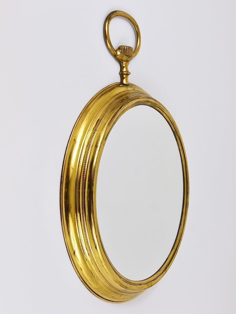 Italian Midcentury Brass Pocket Watch Wall Mirror, Attributed to Piero Fornasetti, Italy For Sale