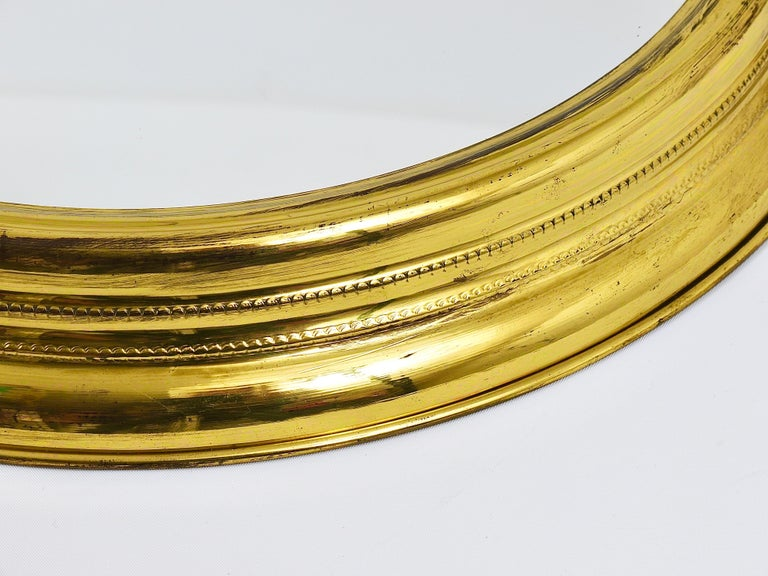 Midcentury Brass Pocket Watch Wall Mirror, Attributed to Piero Fornasetti, Italy For Sale 1