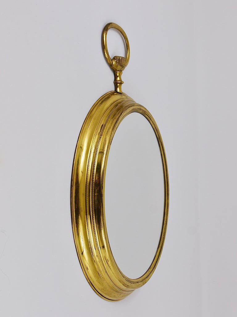 Midcentury Brass Pocket Watch Wall Mirror, Attributed to Piero Fornasetti, Italy For Sale 2
