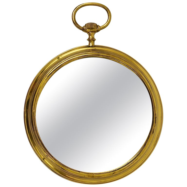 Midcentury Brass Pocket Watch Wall Mirror, Attributed to Piero Fornasetti, Italy For Sale
