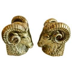 Midcentury Brass Rams Head Bookends