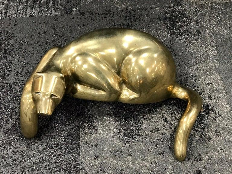 Midcentury Brass Resting Leopard Sculpture For Sale 2