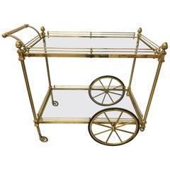 Midcentury Brass Rolling Tea Cart Bar Cart with Glass Shelves