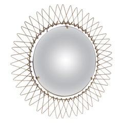 Midcentury Brass Round French Sunburst Adjustable Wall Mirror, Late 1970s