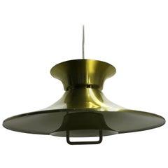Midcentury Brass Scandinavian Pendant Light, Denmark, 1970s