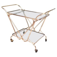 Midcentury Brass Serving Cart with Glass Shelves, Italy, 1950s