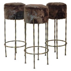 Midcentury Brass Stools with Faux Fur Design by Maison Jansen, France, 1970s