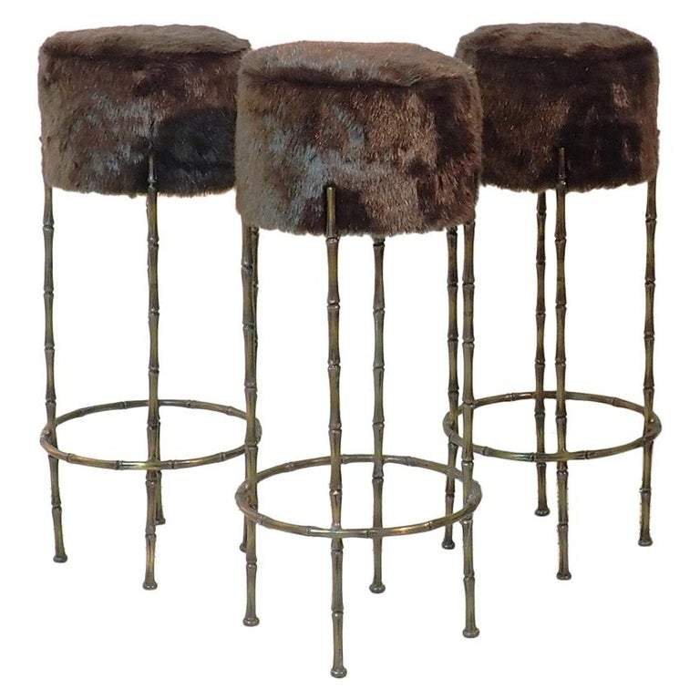 Midcentury Brass Stools with Faux Fur Design by Maison Jansen, France, 1970s For Sale