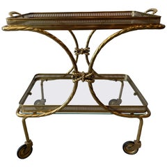 Midcentury Brass Tea Cart with Removable Top Tray and Twist Tassel Design
