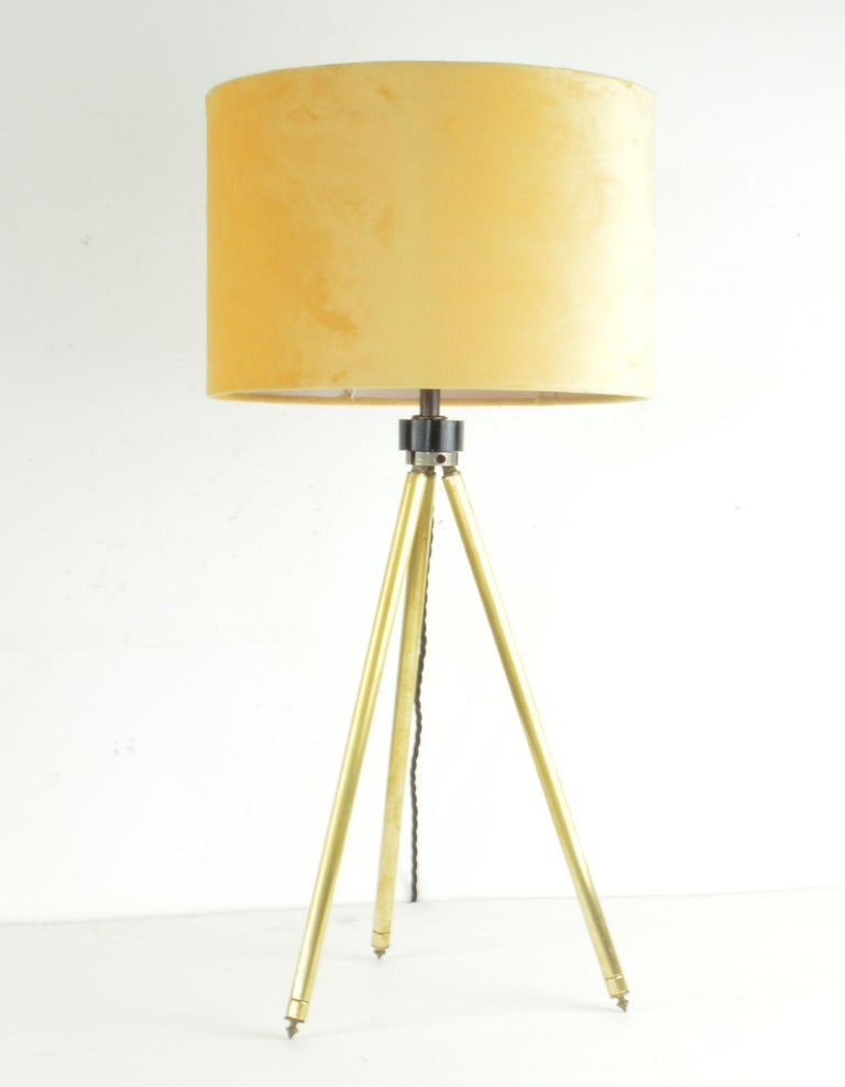 Super brushed brass tripod table lamp.