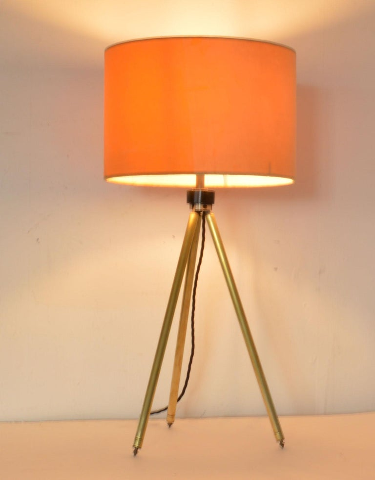 English Midcentury Brass Telescopic Tripod Table Lamp For Sale
