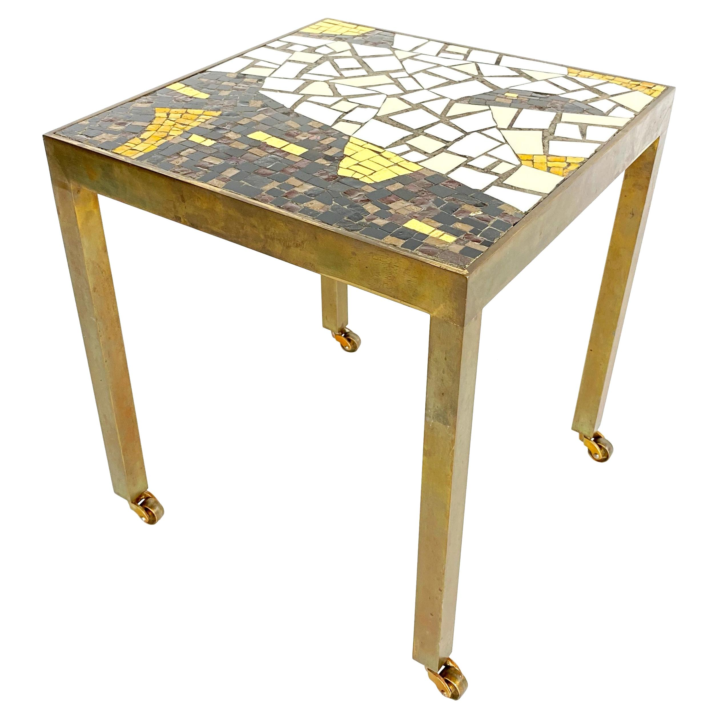 Midcentury Brass Terrazzo Mosaic Side Table, 1950s, Italy