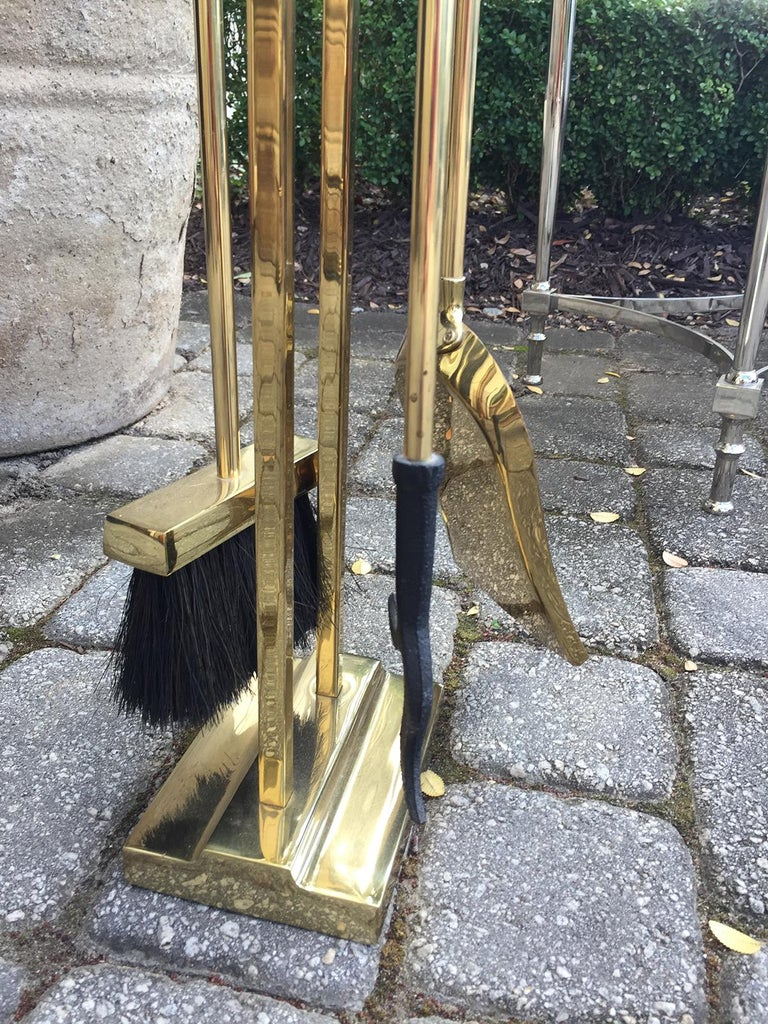Mid-20th Century Brass Three-Piece Fire Tool Set on Stand For Sale 2