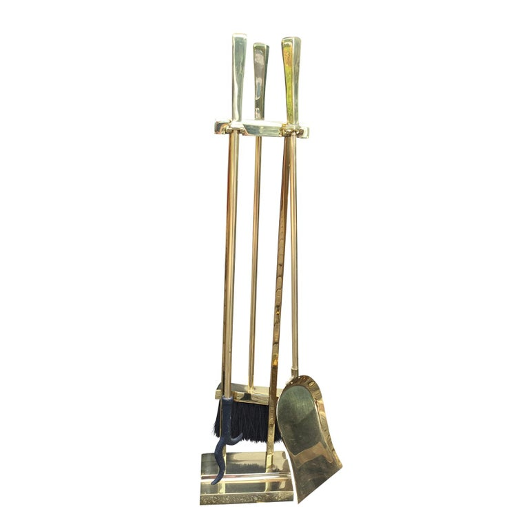 Mid-20th Century Brass Three-Piece Fire Tool Set on Stand For Sale