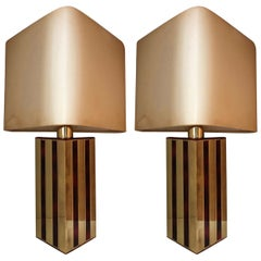 Midcentury Brass Tortoiseshell Emanel Pair of Table Lamps by BD Lumica, 1970s