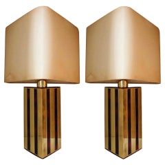 Midcentury Brass Tortoiseshell Enamel Pair of Table Lamps by BD Lumica, 1970s