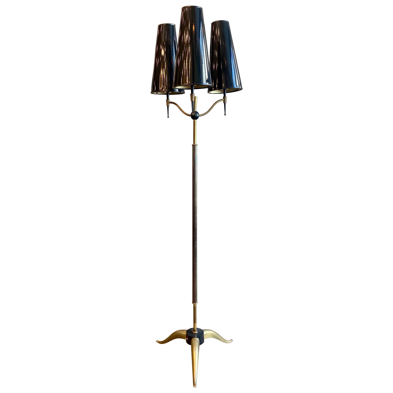 Midcentury Brass Tripod 3-Arm Floor Lamp