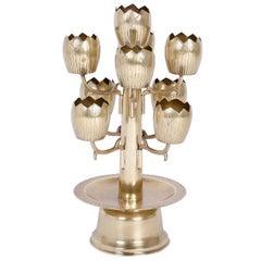 Midcentury Brass Tulip or Lotus Candleholder