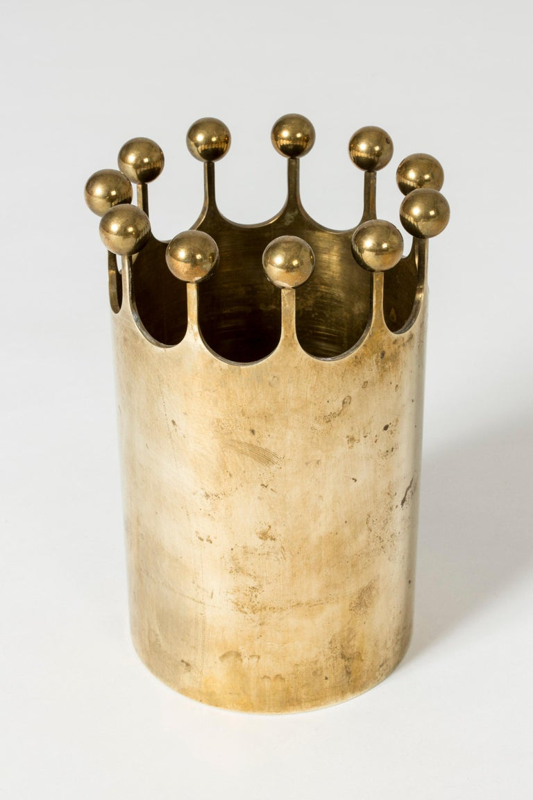 Beautiful brass vase in a crown shape by Pierre Forssell. Fun and luxurious at the same time.