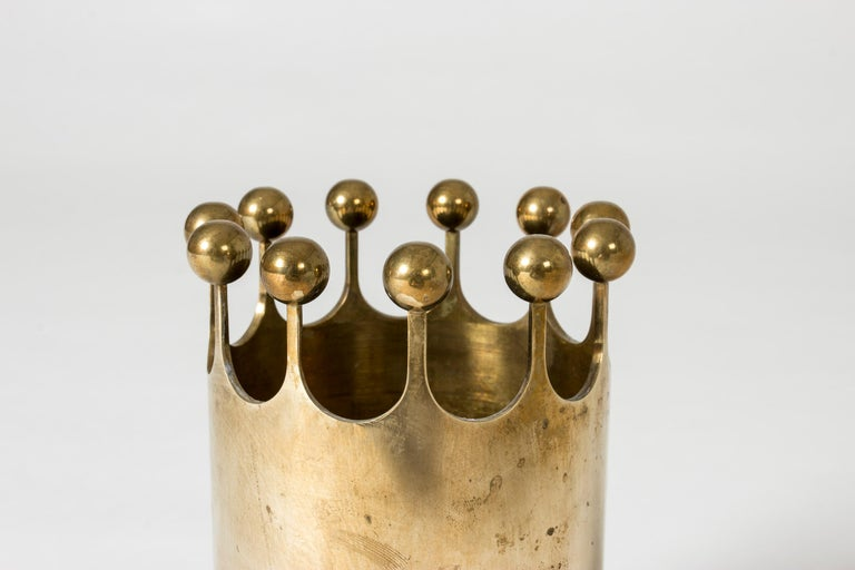 Swedish Midcentury Brass Vase by Pierre Forssell