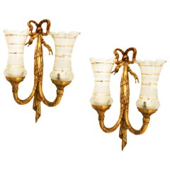 Midcentury Brass Wall Sconces Louis XVI Style