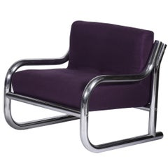 Midcentury Brazilian Armchair in Chromed Tubular Metal by Geraldo de Barros