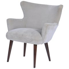 Midcentury Brazilian Armchair in Velvet Upholstery by Teperman, 1960s