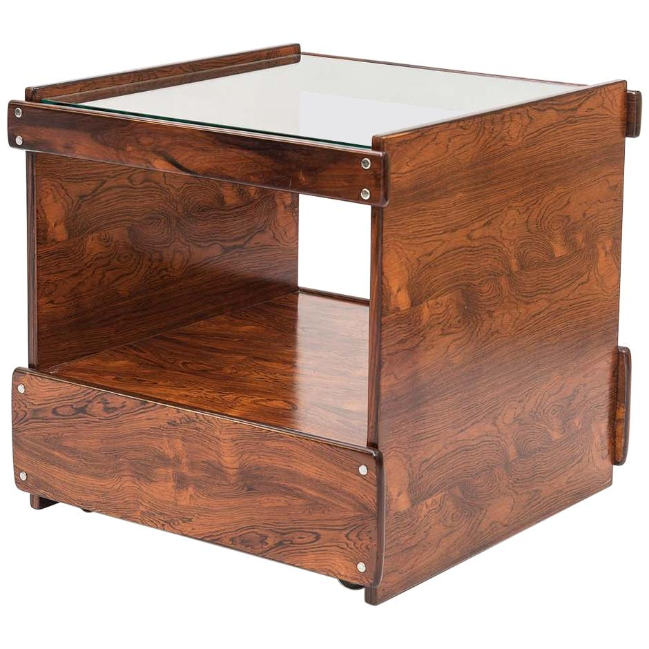 Midcentury Brazilian Bar Cart with Rosewood Structure, 1960s