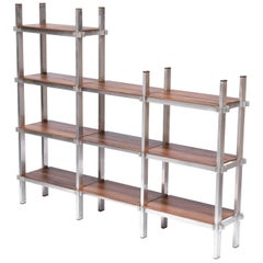 Midcentury Brazilian Bookcase with Structure in Aluminum and Plywood, 1960s