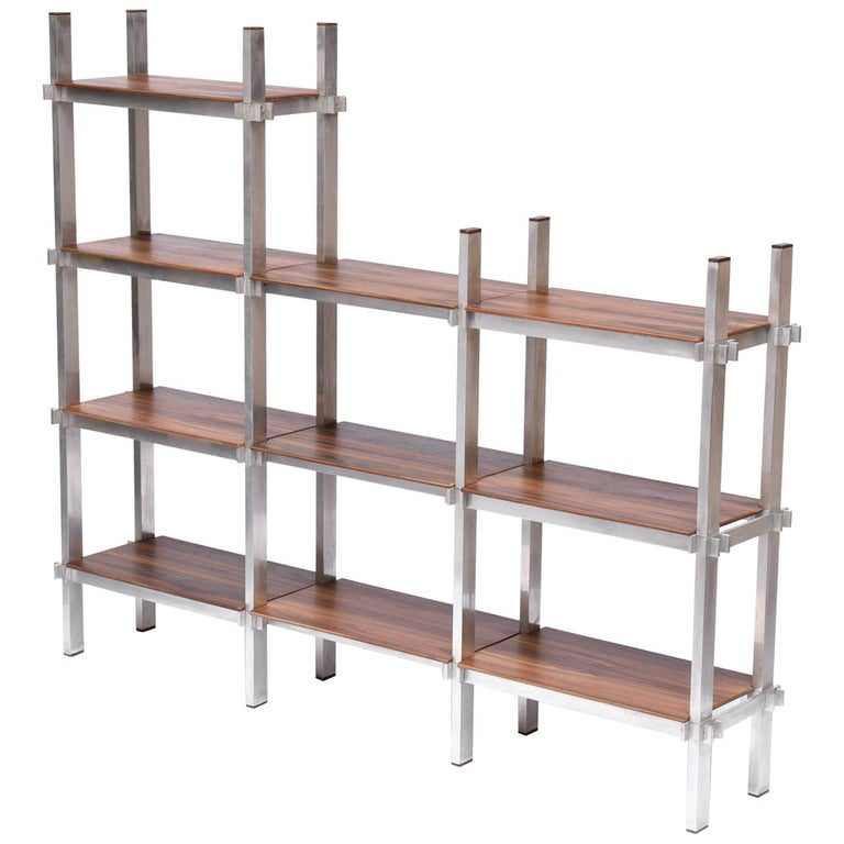 Midcentury Brazilian Bookcase with Structure in Aluminum and Plywood, 1960s For Sale