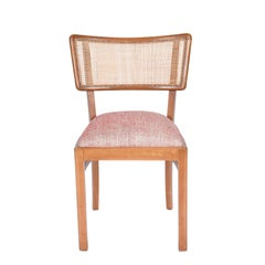 Midcentury Brazilian Chair in Ivory Wood and Straw, 1960s